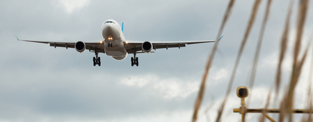 passenger plane lands at airport