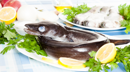 Image of freshness fish eel and vegetables on the plate at the table Reklamní fotografie