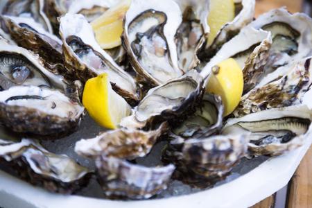 Frische leckere Austern mit Zitrone auf dem Teller Standard-Bild
