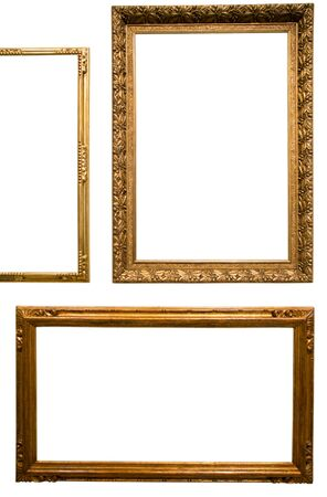 retro golden rectangular frame for photography on isolated background