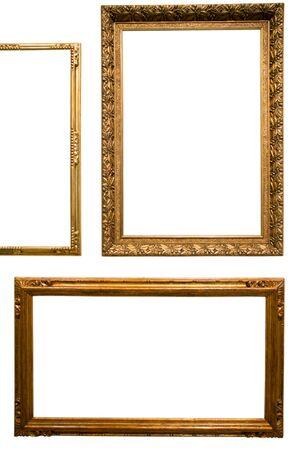 Retro goldener rechteckiger Rahmen für Fotografie auf lokalisiertem Hintergrund