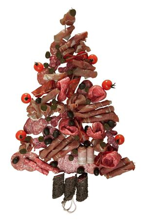 Isolated Christmas tree made of sausage on a background of wooden wall