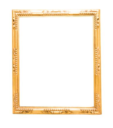 retro golden rectangular frame for photography on isolated background Stock fotó