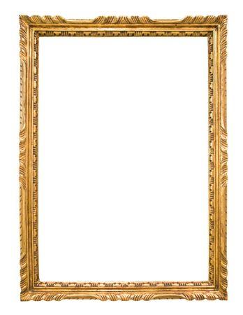 Marco dorado rectangular para foto sobre fondo aislado Foto de archivo