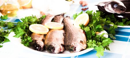 trout with Lemon, parsley and onion lying on the plate indoors Stock Photo
