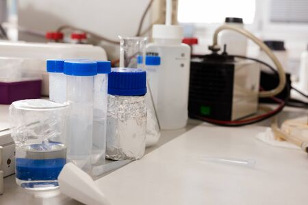 flasks, test tubes in chemical laboratory in working environment Stok Fotoğraf