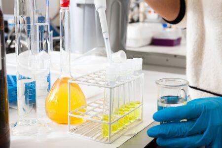 flasks, test tubes in chemical laboratory in working environment Zdjęcie Seryjne