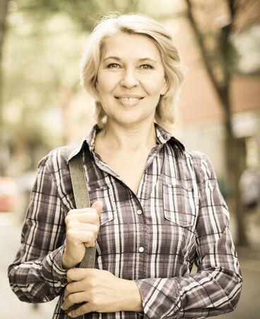portrait of European elderly blonde woman