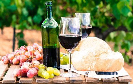 glass of red wine ripe grapes and bread on table in vineyard