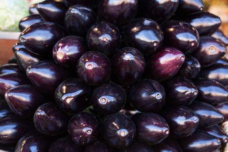 eggplant on market counter