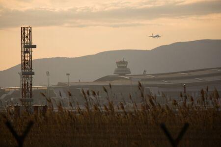 view of the control tower of El Prat airport in Barcelona. Spain Standard-Bild