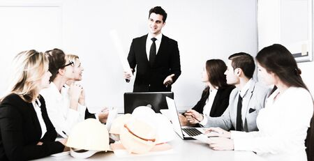 building chief speech at meeting in office