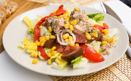 appetizing mediterranean vegetable salad with tuna
