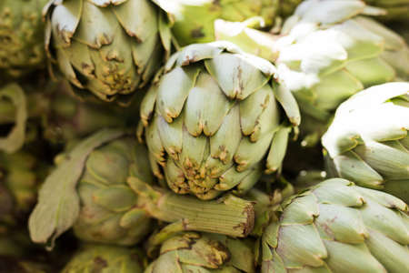 Fresh farmer artichokes on market counter