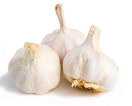 fragrant garlic heads and cloves on white background Zdjęcie Seryjne