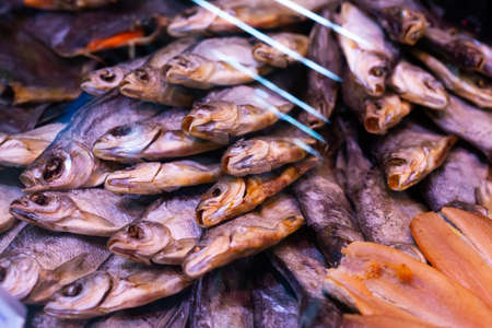 salted dried fish chekhon on the counter of the store