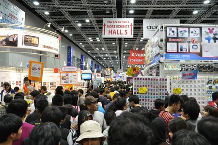 exhibition hall: KUALA LUMPUR, MALAYSIA - AUGUST 8: Massive crowd in Pikom PC Fair 2010 on August 8, 2010 at Kuala Lumpur Convention Center, Kuala Lumpur. Editorial