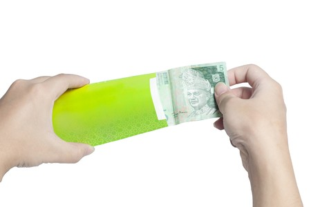 put: Put Money into Green Packet isolated on white background