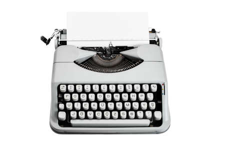 Vintage f type typewriter and paper isolated on white background Imagens