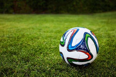 soccer ball on the grass field