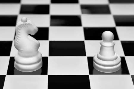 Chess game pieces. The knight and pawn against each other. Concept of opposition and confrontation.