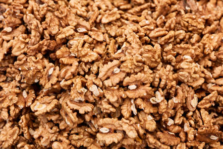 Top down view of a heap of walnut kernel Stock fotó