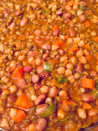 Cooked beans in tomato sauce.top view nice good