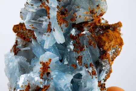 Blue barite mineral specimen Stock Photo
