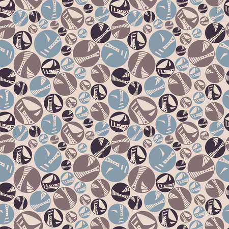 Seamless pattern vector repeat texture, of hand-drawn circles in a muted pastel palette