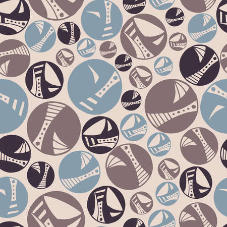 Seamless pattern vector repeat of, hand-drawn circles in a muted pastel palette  イラスト・ベクター素材