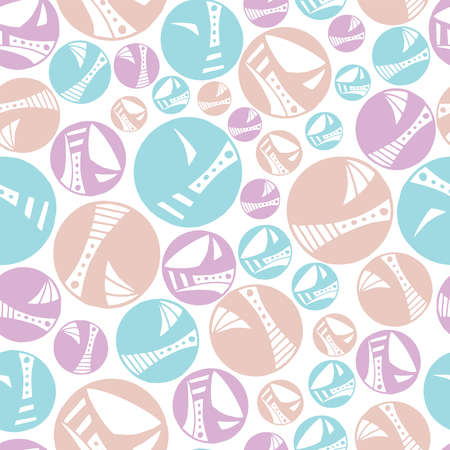 Seamless pattern vector repeat of pretty, hand-drawn circles in a pastel palette Ilustrace
