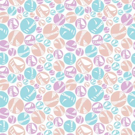 Seamless pattern vector repeat texture of pretty, hand-drawn circles in a pastel palette  イラスト・ベクター素材