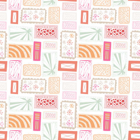 Seamless pattern vector repeat texture of abstract rectangles in a bright and cheerful palette.
