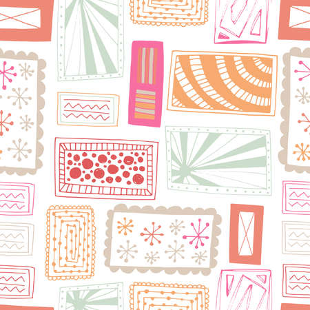 Seamless pattern vector repeat of doodled rectangles in a bright. colourful palette