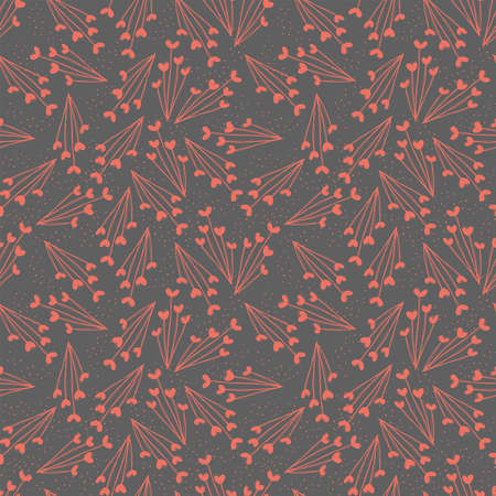 Seamless vector repeat pattern of abstract flowers in a simple color palette
