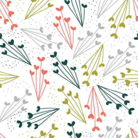 Seamless vector repeat pattern of abstract flowers in a cheerful color palette