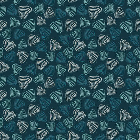 Seamless vector repeat pattern of hand-drawn motifs in a simple color palette