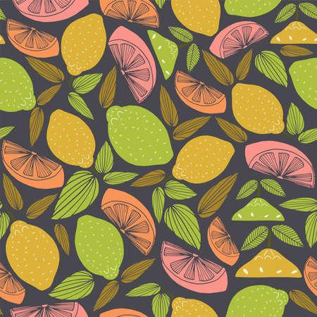 Seamless vector repeat pattern of hand-drawn citrus motifs on a striking dark bacground