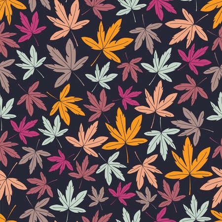 Seamless vector pattern repeat of hand-drawn autumn motifs on a striking dark background