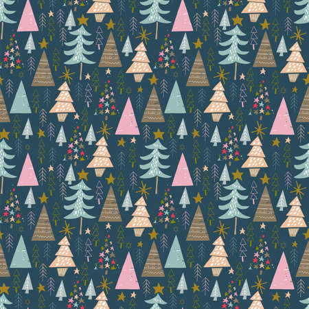 seamless vector repeat of hand-drawn, abstract winter trees