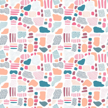 seamless vector pattern repeat of hand-drawn, abstract, pebble motifs