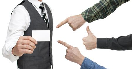 businesscard: Man holding blank businesscard