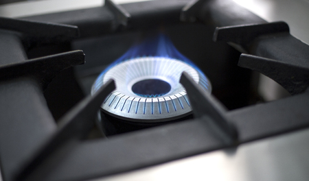 gas burner: Commercial Kitchen Gas Burner Flame Stock Photo