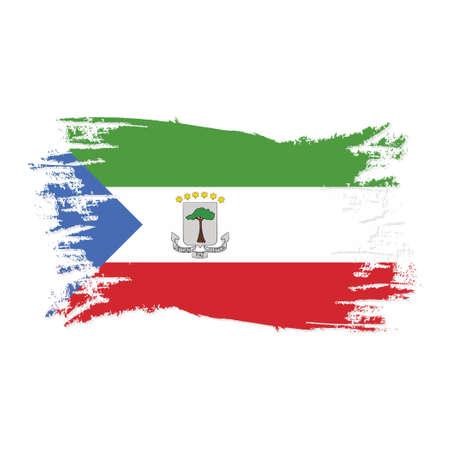 Equatorial Guinea Flag With Watercolor Brush style design vector Illustration Ilustración de vector