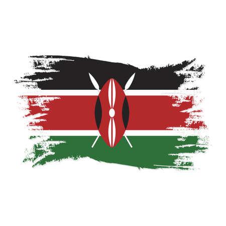 Kenya Flag With Watercolor Brush style design vector Illustration