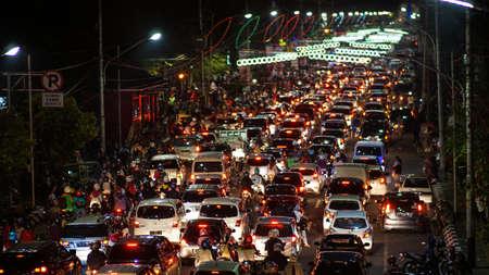 traffic jam in semarang indonesia