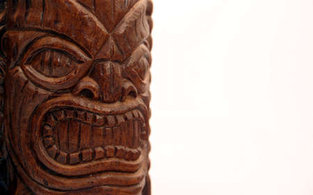 northwest indian art: Isolated face of an angry God Stock Photo