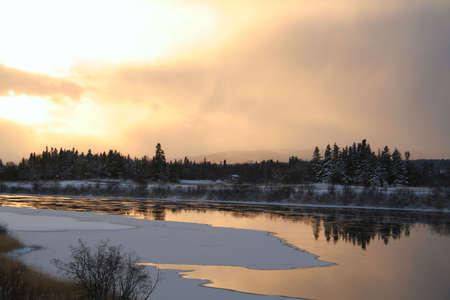 cloud drift: Winter Scene - River Sunset