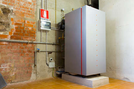 condensing: Condensing gas boiler in the boiler room