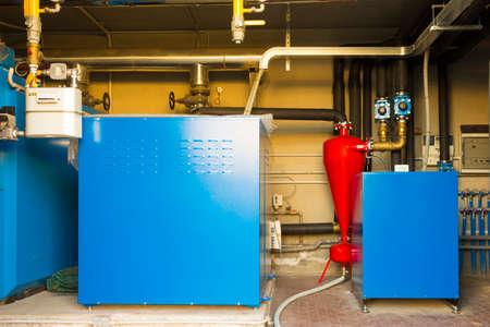 geothermal: Geothermal heat pump for heating in the boiler room